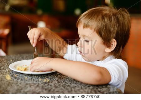Toddler Girl With Fork