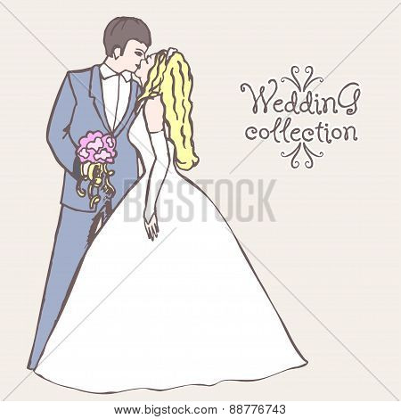 Wedding collection. Bride and Groom coupl.