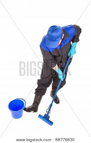 Cleaner in uniform with bucket and mop