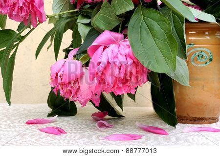 Wilted pink flowers in an old ceramic vase
