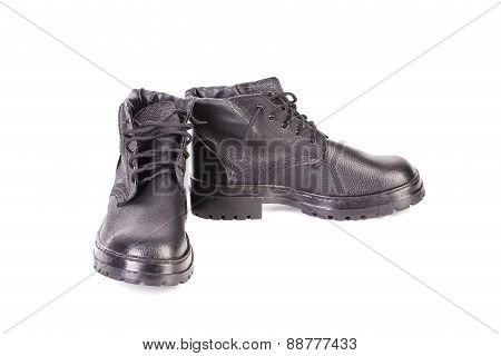 Work black leather boots