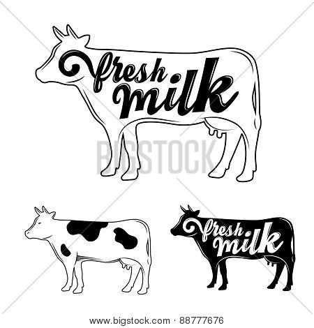 The stylized silhouette of a cow.
