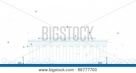 Outline Abraham Lincoln Memorial in Washington DC USA Vector illustration