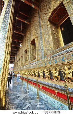 Tourists Visit The Grand Palace In Bangkok, Thailand
