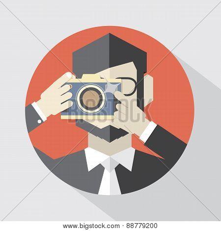 Modern Flat Design Camera Man.