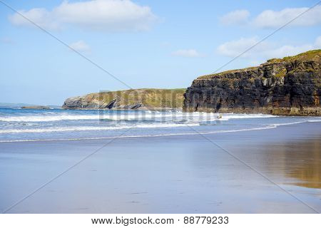 Bright Winter View Of Kayaker At Ballybunion Sandy Beach