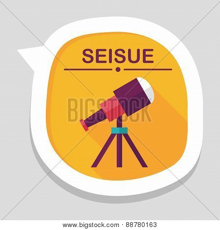 Telescope Flat Icon With Long Shadow,eps10