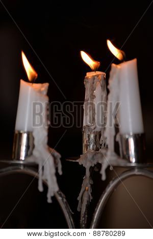 Candles Dripping At A Restaurant