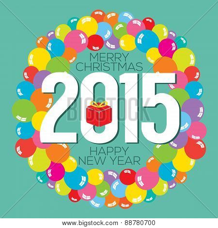 Colorful Balloon Bunch 2015 New Year Card.