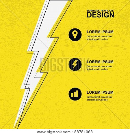 Abstract Yellow Grunge Texture Background With Black, White Lightning And Icons. Concept For Brochur