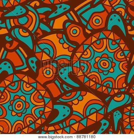 Hand Drawn Tribal Blue And Orange Background. Vector Seamless Ethnic Pattern With Multicolor Ornamen