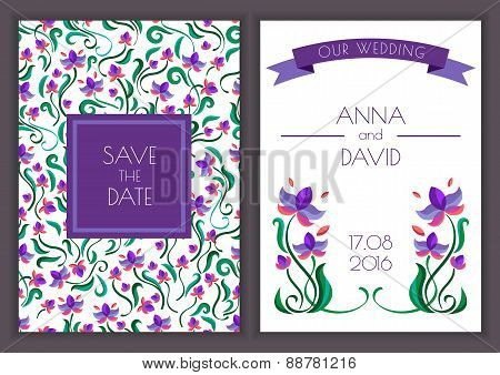 Vector Template With Seamless Floral Pattern Background. Purple Flowers And Ribbon Illustration. Con