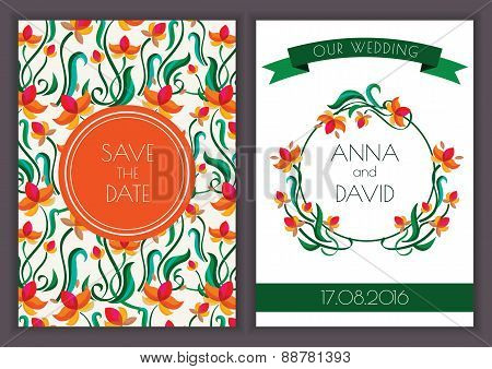 Vector Template With Seamless Floral Pattern Background. Orange Flower Wreath And Ribbon Illustratio