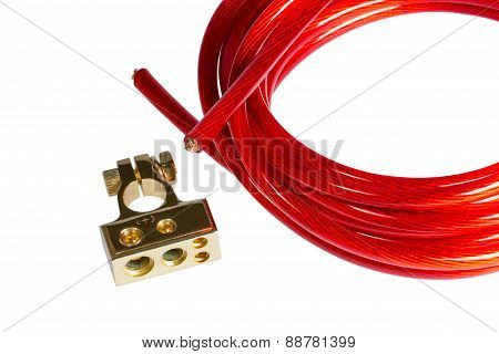 Red Electric Power Cable And Positive Contact Terminal Car Battery