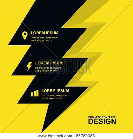 Abstract Yellow Background With Yellow Lightning And Icons. Concept For Brochure Cover, Flyer, Poste