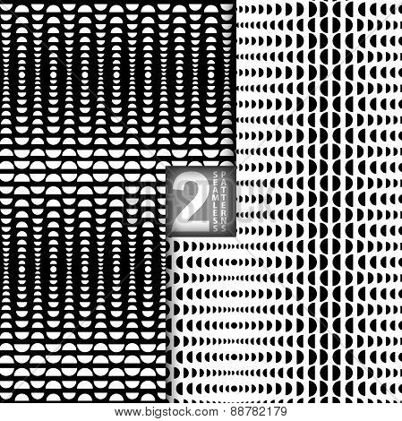 Halftone Style Vector Black White Seamless Patterns, Set Of 2