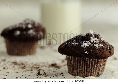 chocolate cupcakes with icing sugar