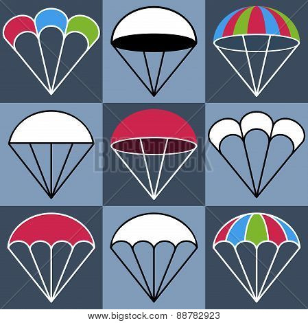 Colored Parachute Icons Set, Vector Illustration