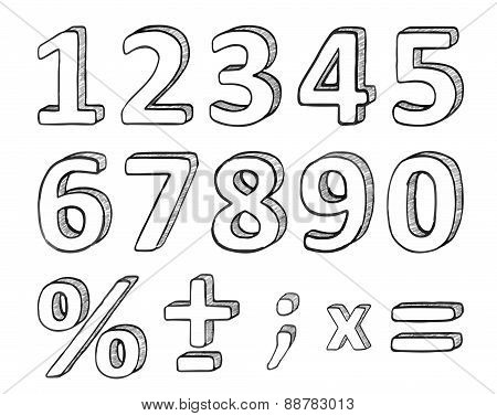 Hand Drawn Numbers, Vector Illustration