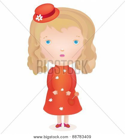 the little cute blond girl in a red dress and hat