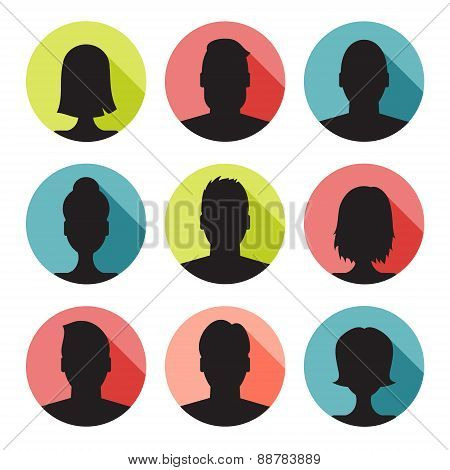 vector set of colorful user profile illustrations, icons. Man and woman.