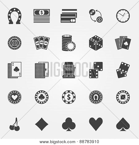 Casino icons vector set