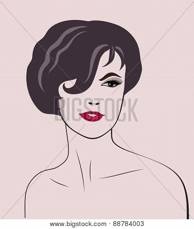 vector woman elegant portrait
