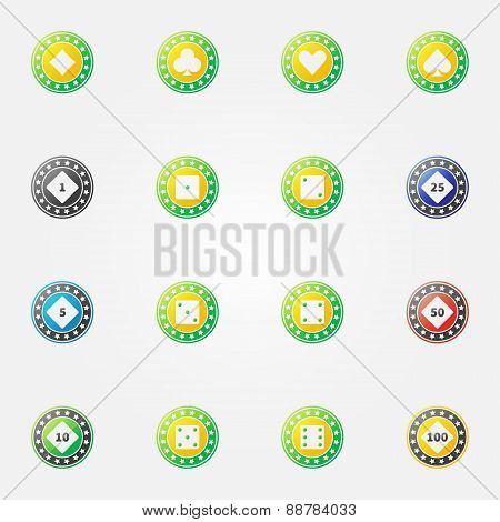 Poker chips vector bright icons