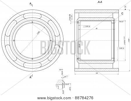 Bearing sketch. Engineering drawing