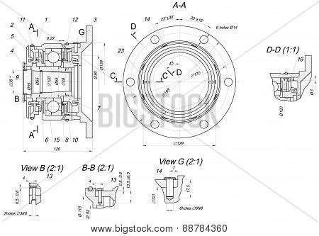 Expanded bearing sketch. Engineering drawing