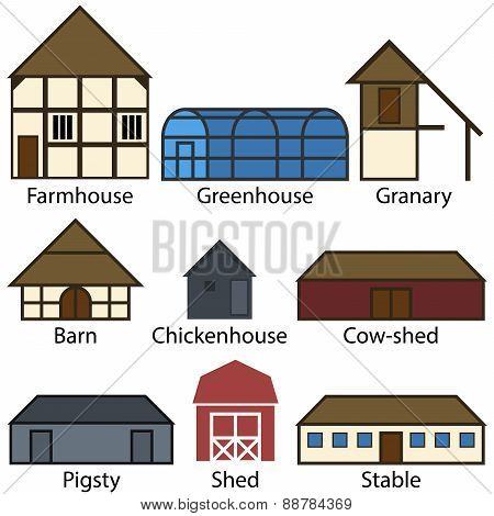Farm Buildings Flat Icons, Vector Illustration