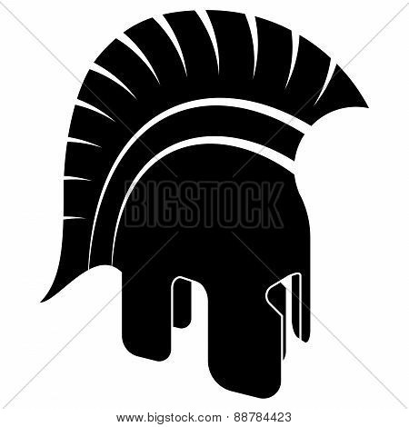 Ancient Helmet, Black White Vector Illustration