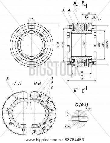 Expanded bearing sketch with numbers