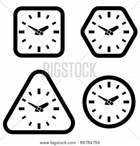 Clock Icon, Square, Hexagon, Triangle And Circle Shapes, Vector