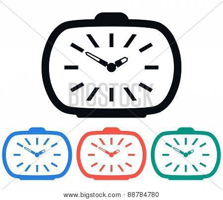Vintage Alarm Clock Icon, Vector Illustration