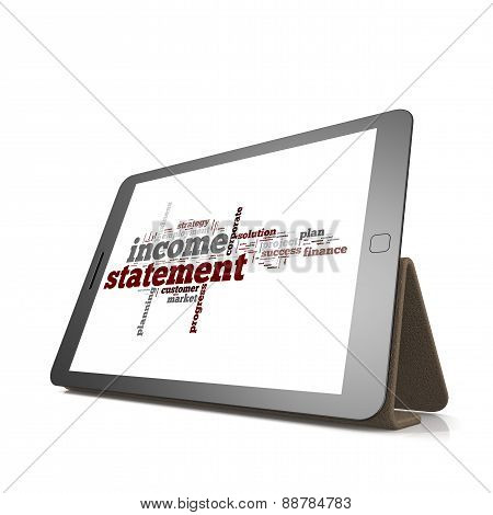 Income Statement Word Cloud On Tablet