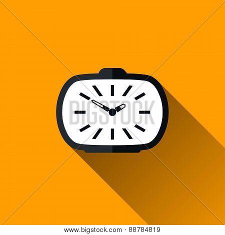 Vintage Alarm Clock Flat Icon With Long Shadow, Vector Illustrat