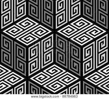 3D Zig Zag Cubes, Op Art Vector Seamless Pattern