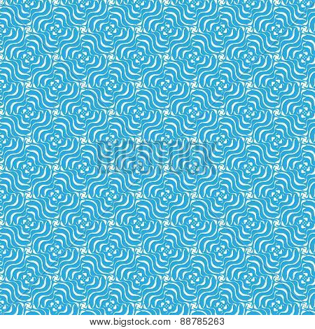 Curly floral seamless pattern, blue and white