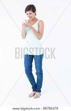 Natural woman using her smartphone on white background