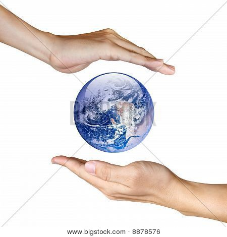 Two Hands Saving The Earth Isolated