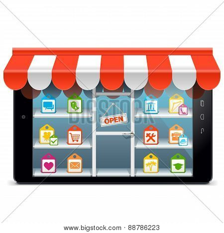 Vector Tablet PC with Supermarket Concept