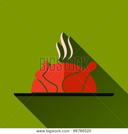 Roasted Chicken Long Shadow Icon, Vector Illustration