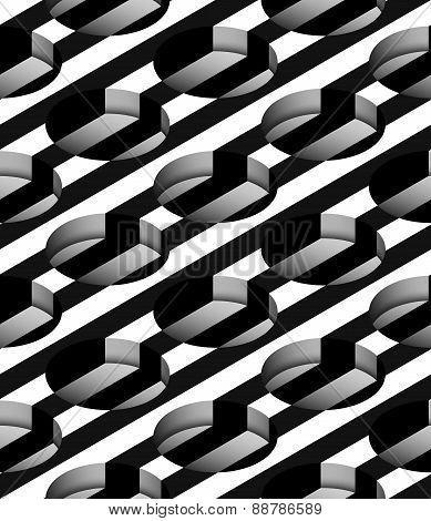 Striped 3D Cylindrical Holes Vector Seamless Pattern