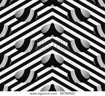 Striped 3D Hemisphere Pit Hole Vector Seamless Pattern