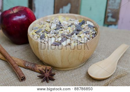 Oat Flakes In Wooden Bolw