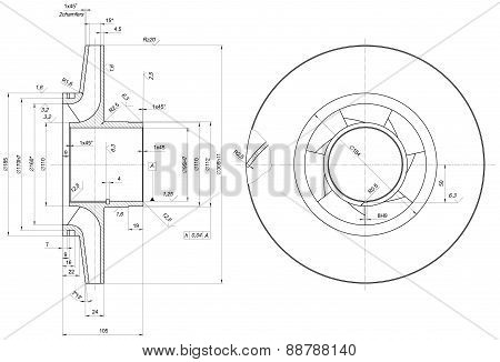 Engineering sketch of wheel with span