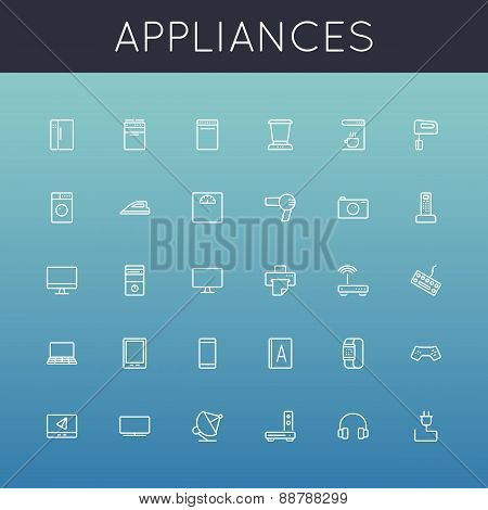 Vector Appliances Line Icons