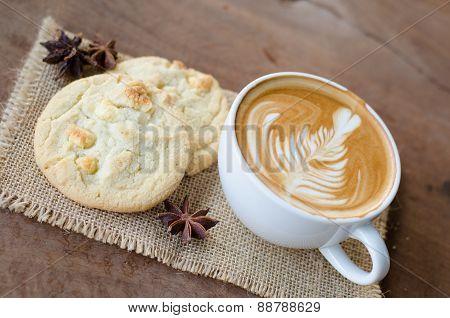 Hot Coffee And White Chocolate Macadamia Cookie