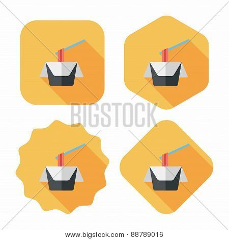 Instant Noodles Flat Icon With Long Shadow,eps10